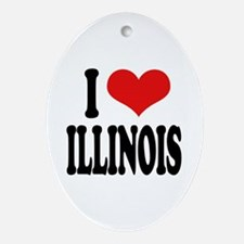 I Love Illinois Oval Ornament