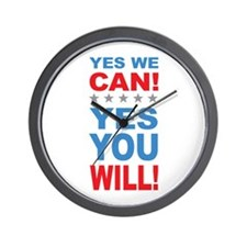 Obama Yes You Will Wall Clock