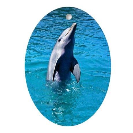 """Dancing Dolphin"" - Gift Ornament/Keepsake Oval"