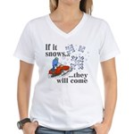 If It Snows Women's V-Neck T-Shirt
