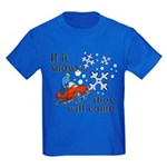 If It Snows Kids Dark T-Shirt