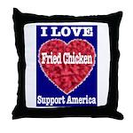 I Love Fried Chicken Throw Pillow