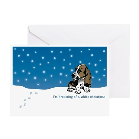 Basset Hound White Christmas Greeting Cards (Pk of