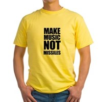 Make Music Not Missiles Yellow T-Shirt