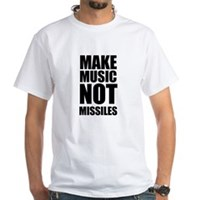 Make Music Not Missiles White T-Shirt