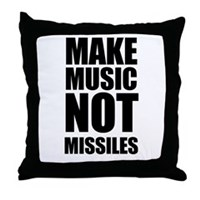Make Music Not Missiles Throw Pillow