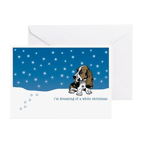 Basset Hound White Christmas Greeting Cards (Pk of