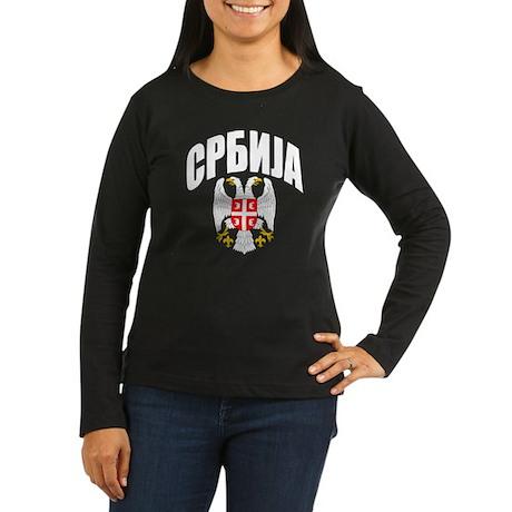 Serb Eagle Cyrillic Women's Long Sleeve Dark T-Shi