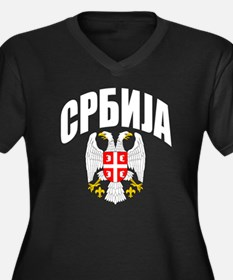 Serb Eagle Cyrillic Women's Plus Size V-Neck Dark