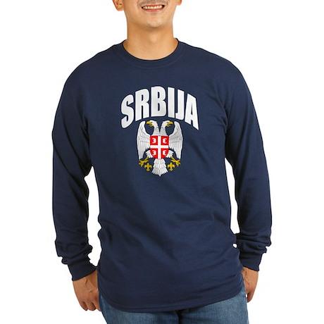 Serb Eagle Latin Long Sleeve Dark T-Shirt