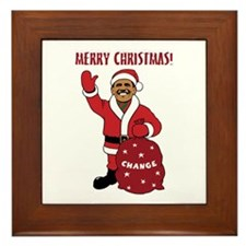 Merry Christmas Obama Framed Tile