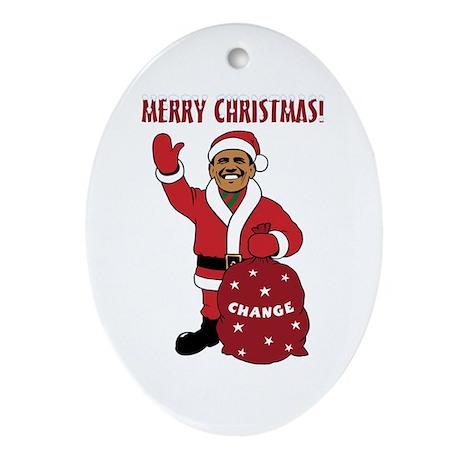 Merry Christmas Obama Oval Ornament