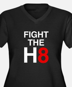 Fight the H8 Women's Plus Size V-Neck Dark T-Shirt