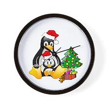 Its a Tux Christmas Wall Clock