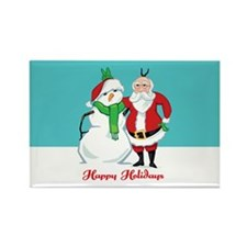 Santa Snowman Photo Rectangle Magnet
