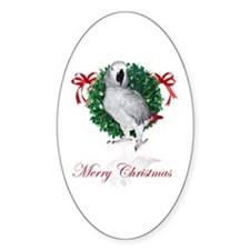african grey christmas Oval Decal