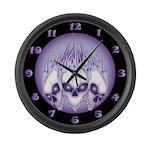 Blazing Purple Skulls Large Wall Clock