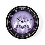 Blazing Purple Skulls Wall Clock