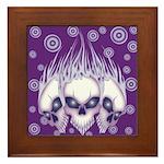 Blazing Purple Skulls Framed Tile