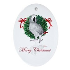 african grey christmas Oval Ornament