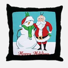 Santa Snowman Photo Throw Pillow