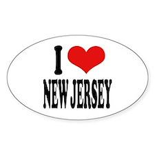 I Love New Jersey Oval Sticker