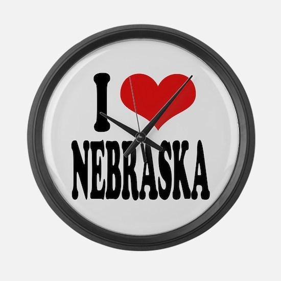 I Love Nebraska Large Wall Clock