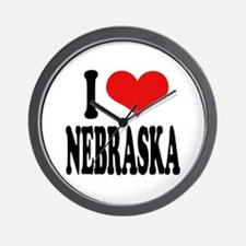 I Love Nebraska Wall Clock