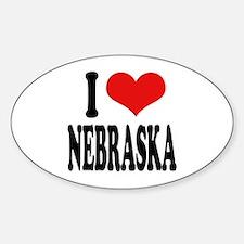 I Love Nebraska Oval Decal