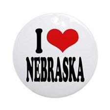 I Love Nebraska Ornament (Round)
