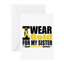 I Wear Gold For My Sister Greeting Cards (Pk of 10