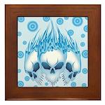 Blazing Blue Skulls Framed Tile