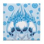 Blazing Blue Skulls Tile Coaster