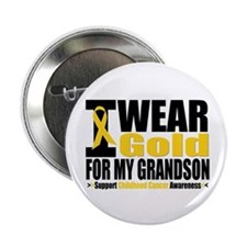 "I Wear Gold For My Grandson 2.25"" Button"