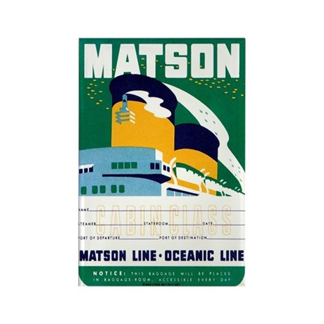 Matson Lines Luggage Label Rectangle Magnet
