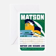 Matson Lines Luggage Label Greeting Cards (Pk of 2