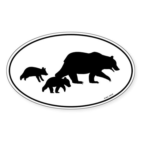 Grizzly Bear Family Oval Sticker