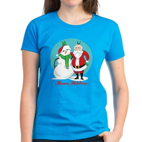 Santa Snowman Photo Women's Dark T-Shirt