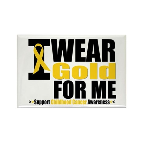 I Wear Gold Ribbon For Me Rectangle Magnet (10 pac