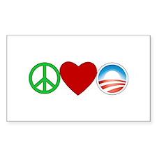 Peace Love Obama Rectangle Decal