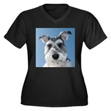 Miniature Schnauzer Women's Plus Size V-Neck Dark