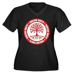 English Roots Women's Plus Size V-Neck Dark T-Shir