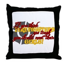 Cute Fireman fiancee Throw Pillow