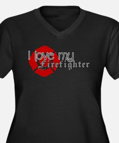 Cute Firefighters girlfriend Women's Plus Size V-Neck Dark T-Shirt