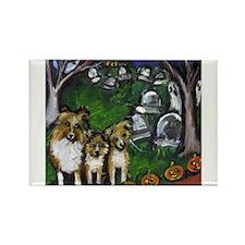 Shetland sheepdog spooky Hall Rectangle Magnet