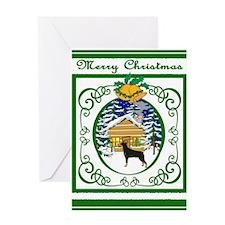 Old Fashioned Doberman Christmas Greeting Card