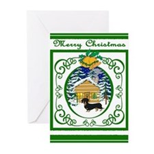 Old Fashioned Dachshund Christmas Greeting Cards (