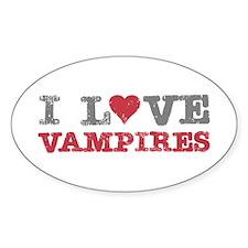 I Love Heart Vampires Twilight Oval Decal