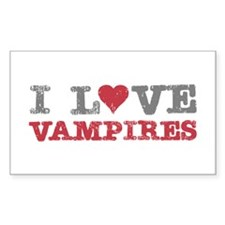 I Love Heart Vampires Twilight Rectangle Decal