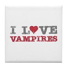 I Love Heart Vampires Twilight Tile Coaster